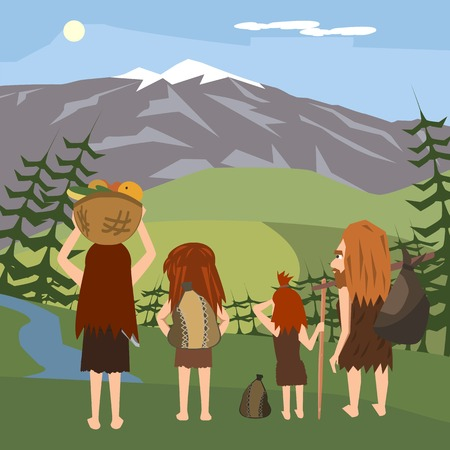 family of primitives migrating to europe, vector cartoon illustration
