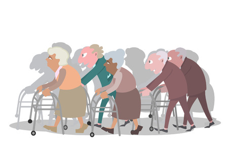 groupe of old people walking with walkers Stock Illustratie