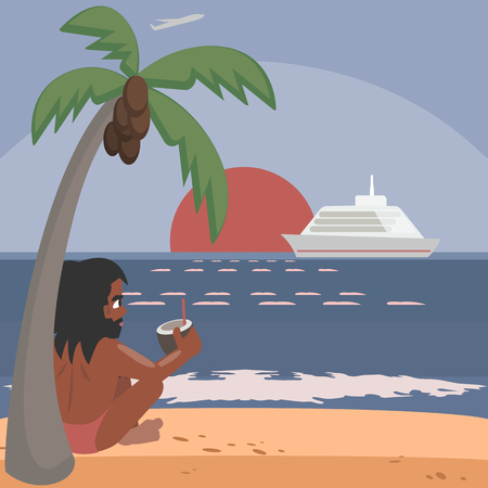 aborigine on the shore contemplates ocean sunset, vector cartoon illustration