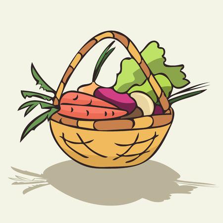 wicker basket with vegetables isolated, colorful cartoon vector illustration Ilustração