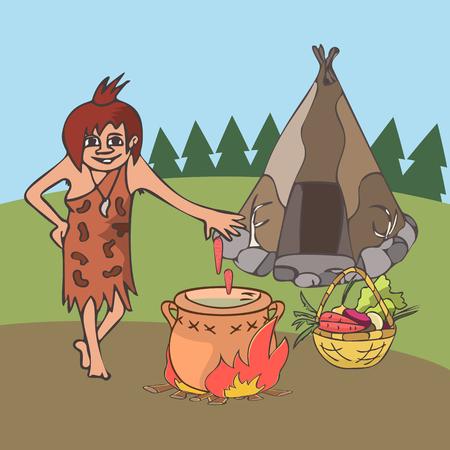 cuisine dans le dessin animé de l & # 39; histoire ancienne