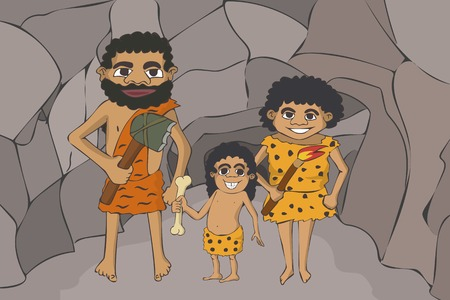 caveman cartoon family insight the cave, funny vector illustration of archaic humans