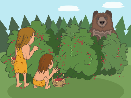 foraging in neolithic era with standing bear Illustration
