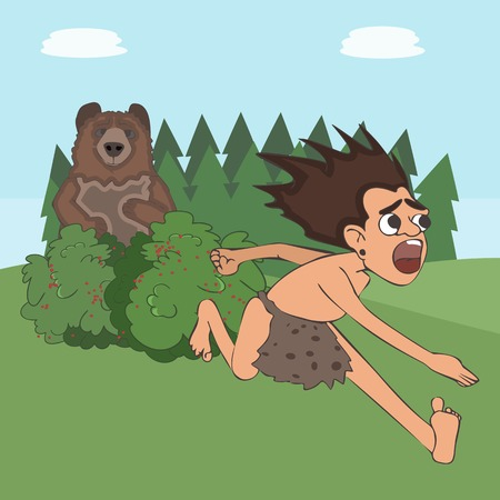 caveman escaping the bear, funny vector cartoon illustration of living in wild