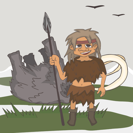 ice age hunter with killed prey, funny vector cartoon illustration of stone age foraging