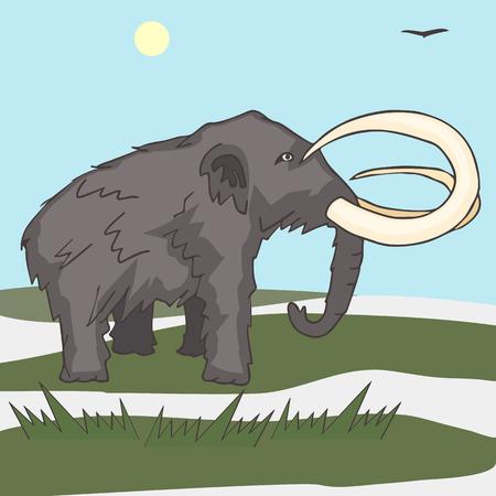 mammoth at tundra landscape vector cartoon