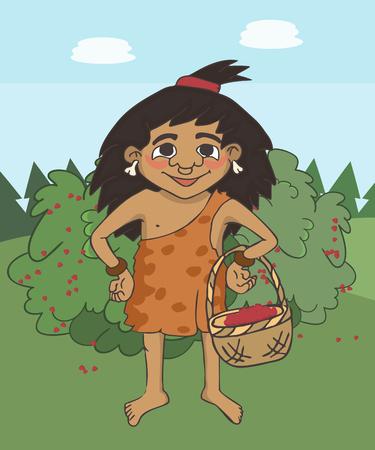 cartoon primitive girl with berries basket, cute vector cartoon illustration of stone age gatherer Vector Illustratie