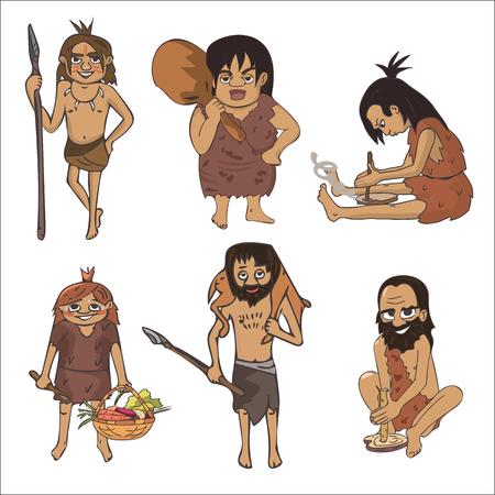 stone age characters cartoon set, vector illustration of prehistoric human activities Çizim