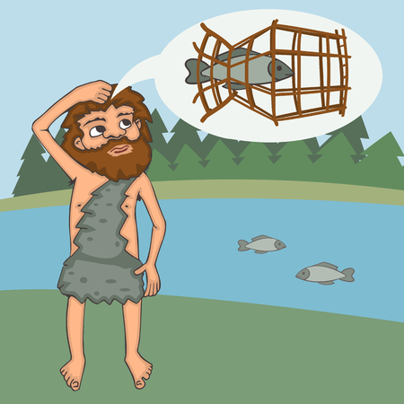 stone age character invents fish trap, vector cartoon illustration of prehistoric technology