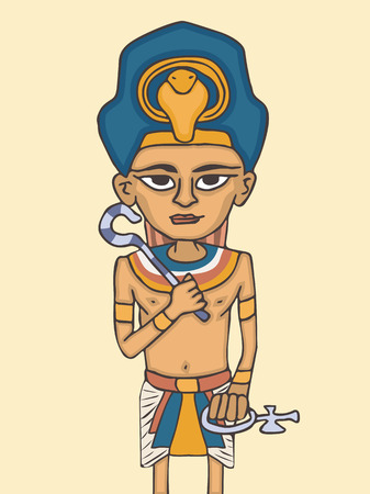 cartoon young pharaoh portrait, colorful vector character from ancient history Çizim