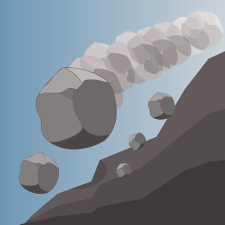 caduta di massi, massi che rotolano giù da una collina, illustrazione vettoriale del potere naturale
