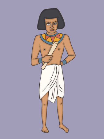 ancient egyptian man in casual cloth cartoon, colorful vector character from ancient history Illustration
