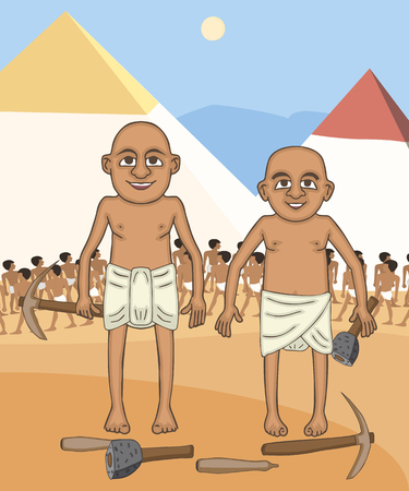 egyptian builders at pyramids background cartoon, colorful vector characters from ancient history