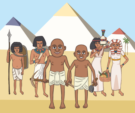 egyptian commoners at pyramids background, funny vector cartoon illustration of ancient monuments and their builders Иллюстрация
