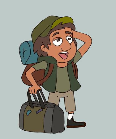 pop-eyed traveler boy, funny vector cartoon portrait of emotional tourist