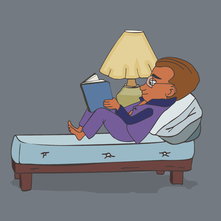 boy in glasses reading in the bed at night, funny vector cartoon illustration in outline style