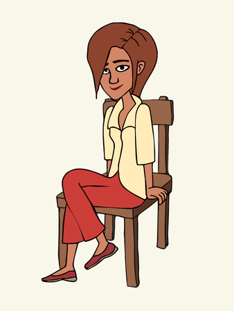 smiling woman sitting on the chair, isolated vector cartoon illustration in outline style