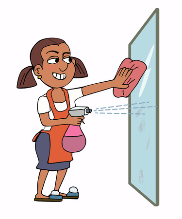happy woman housekeeper cleaning glass, funny vector cartoon portrait Illustration