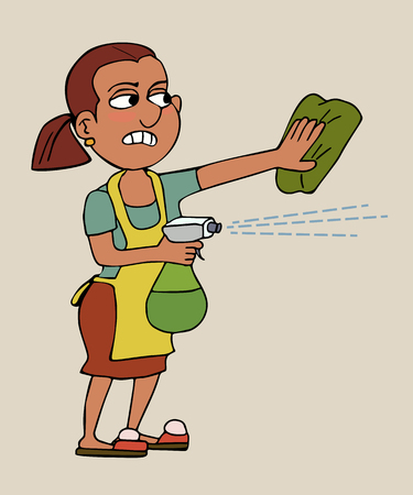 housekeeper getting rid of dust, funny vector cartoon of woman with sprayer and rag, isolated Illustration
