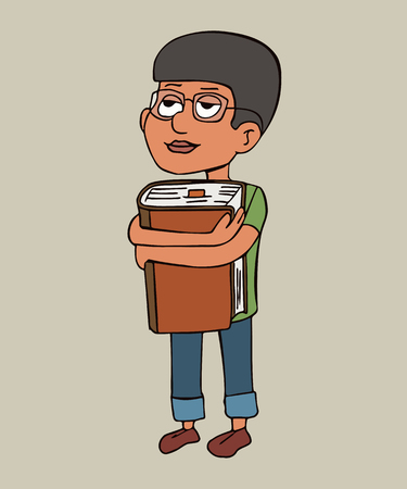 boy in glasses hugging a big book, funny vector cartoon character of reading lover or bibliophile Illustration
