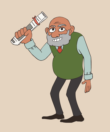 senior standing with newspaper roll - funny vector cartoon illustration of elderly character