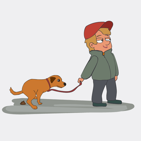 cartoon boy with poop dog, funny vector illustration , isolated Illustration