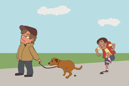 cartoon dog owner not picking up poop, funny vector illustration of man leaving puppy's droppings and guy stepping in it on sidewalk