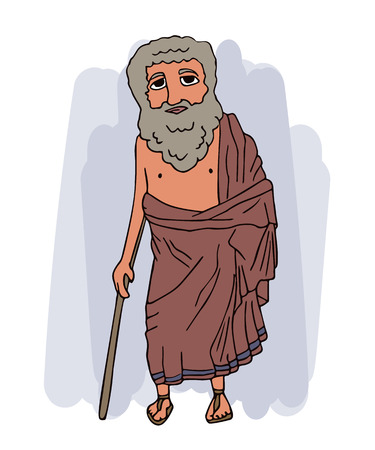 ancient greek old man in himation, vector cartoon portrait of historic character in traditional clothing