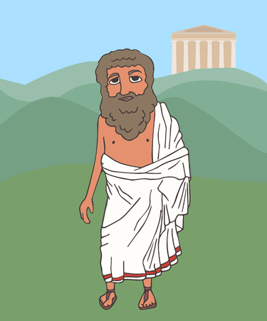 ancient greek old man on Greece background, vector cartoon portrait of historic character in traditional clothing