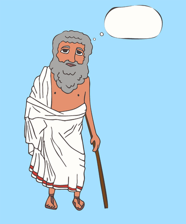 ancient greek old man with thinking bubble, vector cartoon portrait of historic character in traditional clothing Stock Illustratie