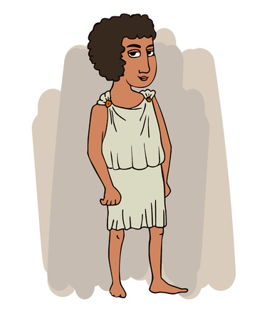 ancient greek young man in chiton, vector cartoon portrait of historic character in traditional clothing