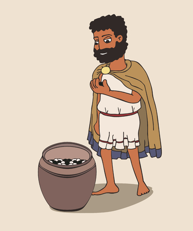 ancient greek man going to vote with pebble, funny cartoon vector illustration of democracy origins