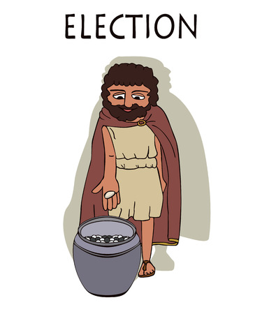 ancient greek man voting by placing pebbles in urn, funny cartoon vector illustration of democracy origins Çizim