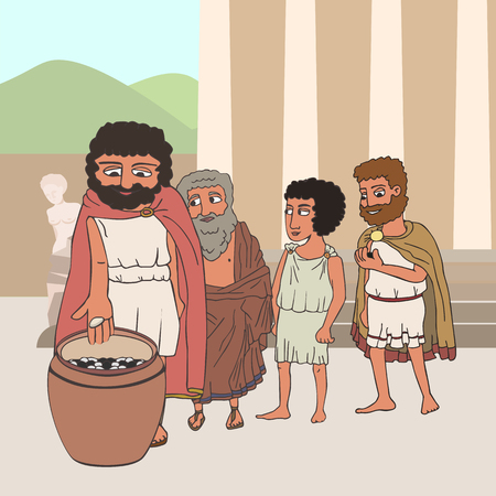male citizens voting in ancient greece by placing pebbles in urn, funny cartoon vector illustration of democracy origins Stock Illustratie