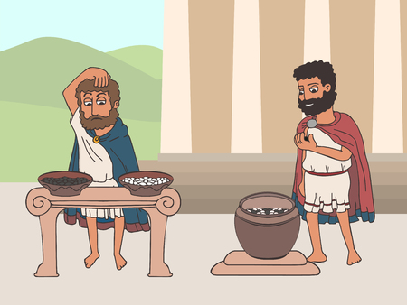 voting process in ancient greece by placing pebbles in urn, funny cartoon vector illustration of democracy origins