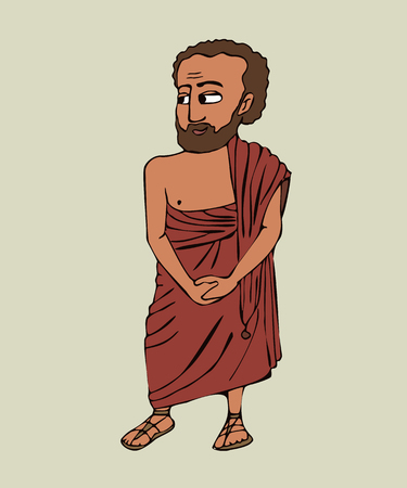 ancient greek man in himation, vector cartoon portrait of historical character in traditional clothing