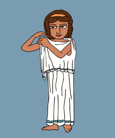 ancient greek woman pinned chiton, vector cartoon illustration of fashion history Illustration