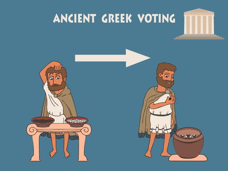 election process in ancient greece by placing pebbles in urn, infographics vector illustration of democracy origins