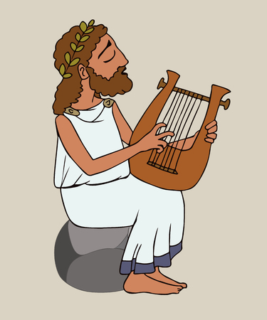 cartoon ancient greek man playing cithara, funny vector illustration of literature and music origins