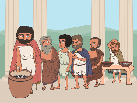 people voting in ancient greece polis, cartoon illustration of man's line going to put pebble in urn