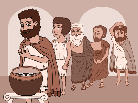 public voting in Ancient Greece, funny historical cartoon illustration in sepia colors Иллюстрация