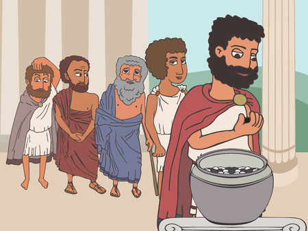 public voting in Ancient Greece by placing pebbles in urn, funny cartoon vector illustration of democracy origins