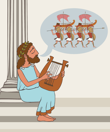 ancient greek folklore, vector cartoon illustration of bard telling the legend
