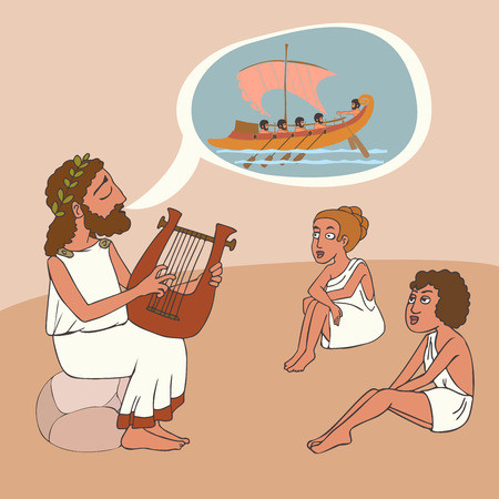 ancient greek story telling tradition, vector cartoon illustration of bard perfomance Çizim