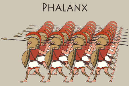 ancient greek phalanx, vector cartoon historical illustration of battle formation