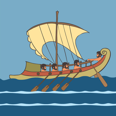 ancient greek ship with rowers at sea, vector cartoon illustration of historic transportation