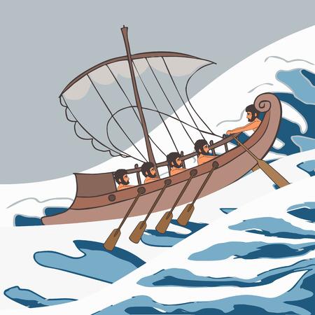 ancient vessel at sea storm ship, vector cartoon illustration of historic transportation