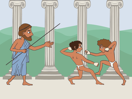 ancient greek school, cartoon illustration of two boxing boy and teacher, education origins