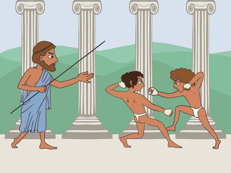 ancient greek school, cartoon illustration of two boxing boy and teacher, education origins