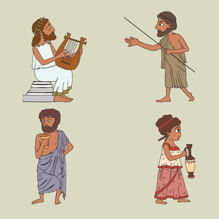 ancient greek people set, four vector cartoon characters of historic men and woman